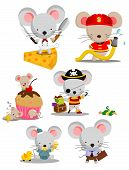 picture of mouse  - a cute little mouse cartoon vector set - JPG