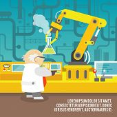 stock photo of scientist  - Robotic arm assemble line mechanic manufacturing with scientist factory robot operator production concept vector illustration - JPG