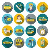 stock photo of cabs  - Taxi driver transportation car service cab man flat long shadow icons set isolated vector illustration - JPG