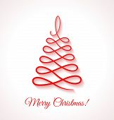 foto of applique  - Abstract red Christmas tree on white background - JPG