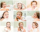 picture of hair curlers  - Collection of photos cute little girl washing brushing teeth and applying cream in hair curlers - JPG
