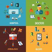 foto of ambulance  - Creative flat medical concept designs including hospital - JPG