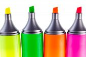 stock photo of sharpie  - colorful highlighters or markers isolated over a white background - JPG