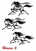 stock photo of mustang  - Fast galloping horses and mustangs in vector with flying manes and tails for equestrian sports design - JPG