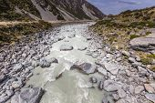 picture of hooker  - Hooker River in Aoraki national park New Zealand - JPG