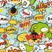 pic of bomb  - Comic speech bubbles in pop art style with bomb cartoon and explosion text seamless pattern vector illustration - JPG