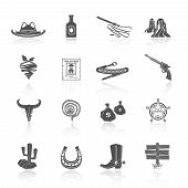 stock photo of wild west  - Wild west cowboy black icons set with hat bottle shoes cactus isolated vector illustration - JPG