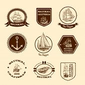 stock photo of clippers  - Nautical craftsman skipper emblem set with sketch sailing clipper ships and yachts vector illustration - JPG
