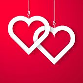 pic of applique  - Two Hearts applique on red background - JPG