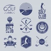 image of competition  - Golf club sport game competition black and white label set isolated vector illustration - JPG
