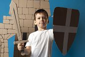 image of berserk  - photo of the child on the medieval castle decorations background made of cardboards - JPG