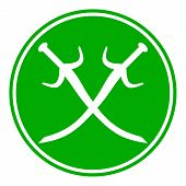 stock photo of crossed swords  - Crossed swords button on white background - JPG