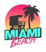picture of beach-house  - Colorful symbol of Miami beach with the famous house and palm tree - JPG