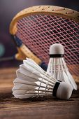 picture of shuttlecock  - A set of badminton. Paddle and the shuttlecock. Studio shot