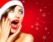 stock photo of mouth  - Christmas Surprised Winter Woman - JPG