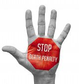 stock photo of beheaded  - Stop Death Penalty Sign Painted - JPG