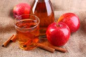 picture of cider apples  - Apple cider with cinnamon sticks and fresh apples on sackcloth background - JPG