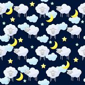 picture of inference  - Funny vector seamless pattern background with clouds stars moon and cute sheep the symbol of the new year of the sheep on the dark cover - JPG