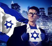 foto of israeli flag  - Superhero Businessman Israeli Cityscape Concept - JPG