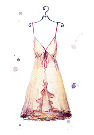 pic of nighties  - Watercolor nightgown on a hanger - JPG