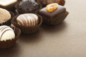 pic of bonbon  - Assorted gourmet chocolate bonbons in paper cups - JPG