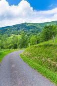 stock photo of french curves  - Curving back roads in the Pyrenees in Boussenac - JPG