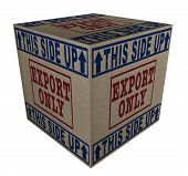 stock photo of export  - 3D Cardboard box with Export only and This side up icons - JPG