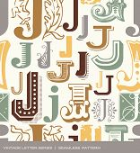 stock photo of letter j  - Seamless vintage pattern of the letter J in retro colors - JPG