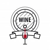 foto of keg  - loop vector icon wine keg and a glass of wine - JPG