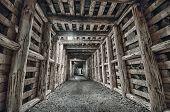 stock photo of tunnel  - Underground Tunnel in the Mine - JPG
