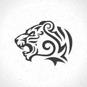 foto of tigers  - Tiger face logo emblem template mascot symbol for business or shirt design - JPG