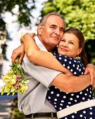 pic of old couple  - Happy old couple at summer  outdoor - JPG