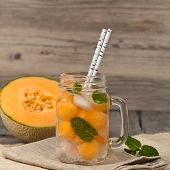pic of cantaloupe  - Closeup of refreshing cantaloupe melons cocktail - JPG