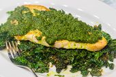 image of sauteed  - Sauteed fish topped with pesto on a bed of sauteed kale - JPG