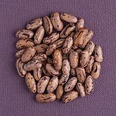 image of pinto bean  - Top view of circle of pinto beans against purple vinyl background - JPG