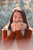 pic of close-up shot  - close up shot of pretty young asian woman portrait - JPG