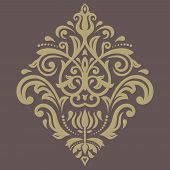 picture of damask  - Damask  floral pattern with arabesque and oriental golden elements - JPG