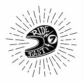 foto of silkscreening  - Retro biker helmet illustration with hand lettering - JPG