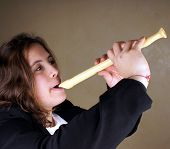 foto of flute  - Portrait of a young lady with a flute - JPG