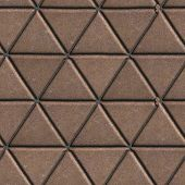 stock photo of paving  - Paving Slabs Brown Pattern of Small Triangles - JPG