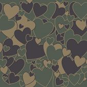 stock photo of camouflage  - Surreal Military Camouflage Background with Love heart shape - JPG