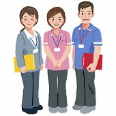 image of geriatric  - Full length portraits of geriatric care manager and two social workers in white background - JPG