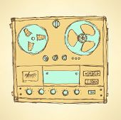 stock photo of analogy  - Sketch analog recorder in vintage style vector - JPG