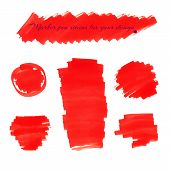 stock photo of marker pen  - Bright red marker pen spots and lines isolated on a white background for your design - JPG