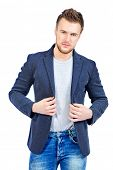 picture of denim jeans  - Casual young man wearing jeans and jacket posing at studio - JPG