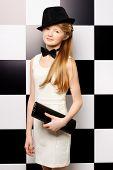 foto of bow tie hair  - Elegant teen girl wearing white dress - JPG