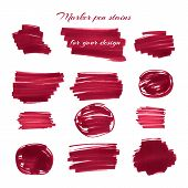 image of marker pen  - Dark red marker pen spots and lines isolated on a white background for your design - JPG
