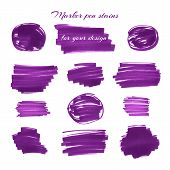 stock photo of marker pen  - Dark violet marker pen spots and lines isolated on a white background for your design - JPG