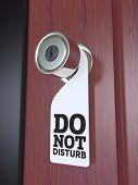 stock photo of door-handle  - Do Not Disturb Sign on the Door Handle 3D - JPG