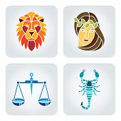 foto of libra  - Vector illustration of astrology symbols: 